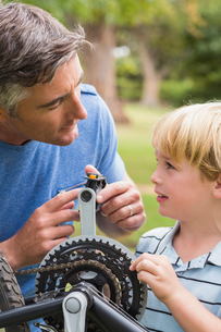 Father and his son fixing a bikeの写真素材 [FYI00007326]