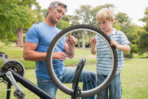 Father and his son fixing a bikeの写真素材 [FYI00007330]