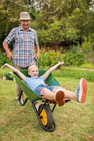 Happy grandfather and his granddaughter with a wheelbarrowの写真素材 [FYI00007378]