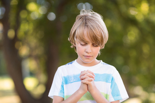 Little boy saying his prayersの素材 [FYI00007441]