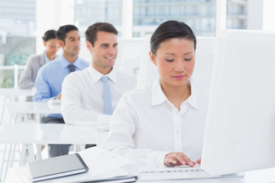 Concentrate work team using computerの写真素材 [FYI00007514]