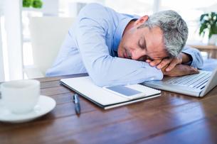 Businessman sleeping on laptop computerの写真素材 [FYI00008007]