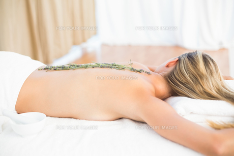 Beautiful blonde lying on massage table with lavandaの写真素材 [FYI00008206]