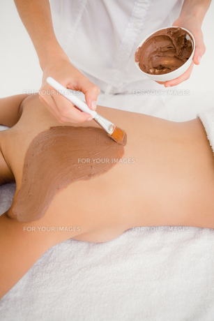 Woman enjoying a chocolate beauty treatmentの素材 [FYI00008268]