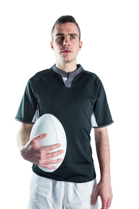 Rugby player holding a rugby ballの素材 [FYI00008643]