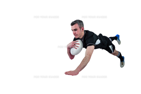 A rugby player scoring a tryの素材 [FYI00008673]