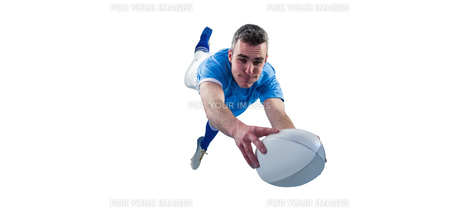 A rugby player scoring a tryの写真素材 [FYI00008680]