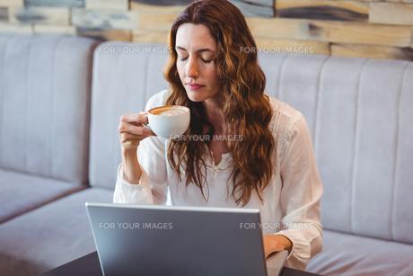 Pretty brunette having coffee using laptopの写真素材 [FYI00008722]