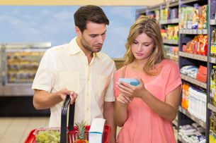A bright couple buying products using shopping basketの写真素材 [FYI00008800]
