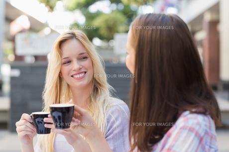 Happy women friends talking togetherの写真素材 [FYI00009001]