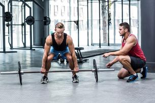 Muscular man lifting a barbellの素材 [FYI00009045]