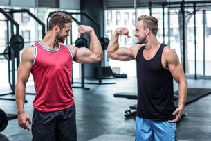 Two smiling muscular men flexing bicepsの写真素材 [FYI00009046]