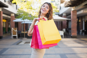 Smiling woman with shopping bagsの素材 [FYI00009090]