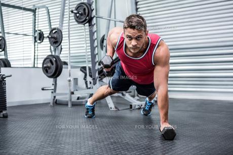 Portrait of muscular man using dumbbellsの写真素材 [FYI00009205]