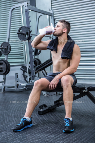 Muscular man drinking protein cocktailの写真素材 [FYI00009256]