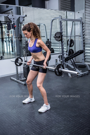 Muscular woman lifting barbellの写真素材 [FYI00009273]