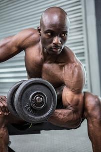 Young Bodybuilder doing weightliftingの写真素材 [FYI00009287]