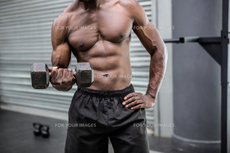 Young Bodybuilder doing weightliftingの写真素材 [FYI00009296]