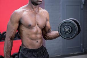 Young Bodybuilder doing weightliftingの写真素材 [FYI00009311]