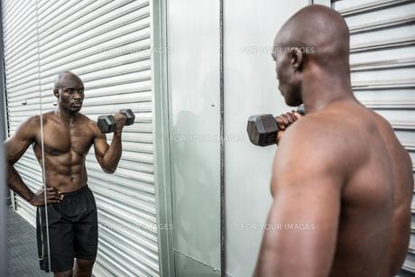 Young Bodybuilder doing weightliftingの写真素材 [FYI00009313]