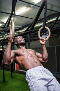 Young Bodybuilder lifting himself up and downの写真素材 [FYI00009315]