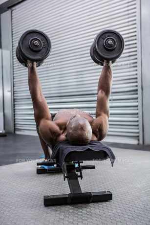 Young Bodybuilder doing weightliftingの写真素材 [FYI00009321]