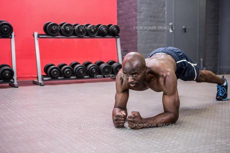 Young bodybuilder doing excercisesの写真素材 [FYI00009327]