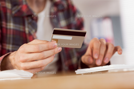 Hipster businessman shopping online with cardの写真素材 [FYI00009578]