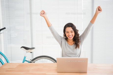 Young businesswoman cheering in front of her laptopの素材 [FYI00009585]