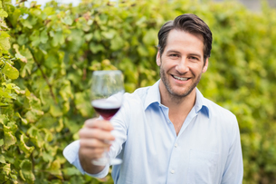 Young happy man smiling at camera and holding a glass of wineの写真素材 [FYI00009596]
