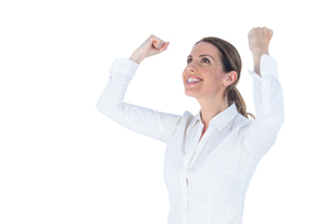 Businesswoman cheering with arms upの素材 [FYI00009620]