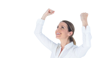 Close up of a businesswoman cheering with arms upの素材 [FYI00009622]