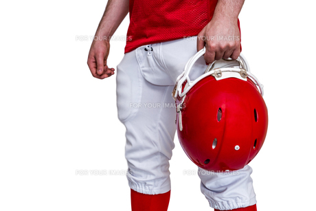 American football player holding a helmetの素材 [FYI00009633]