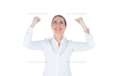 Businesswoman cheering with arms upの素材 [FYI00009634]