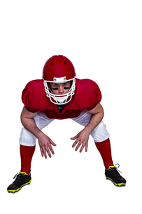 American football player in attack stanceの素材 [FYI00009643]