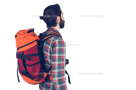 Side view of a bearded hikerの素材 [FYI00009681]