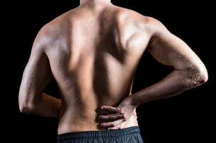 Rear view of shirtless man with back painの写真素材 [FYI00009714]