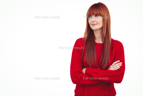 Hipster woman with arms crossedの写真素材 [FYI00009860]