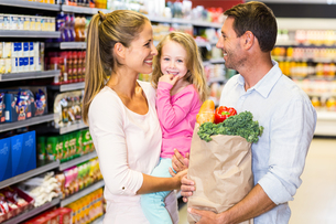 Smiling family with grocery bag at the supermarketの写真素材 [FYI00009889]