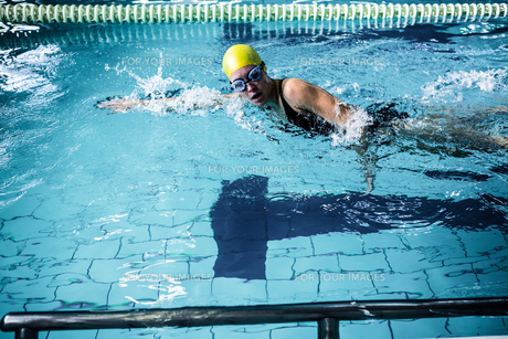 Swimmer woman swimming in the swimming poolの素材 [FYI00010156]