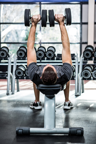 Muscular man lifting dumbbells while lying on benchの写真素材 [FYI00010161]