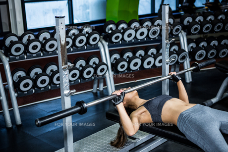 Fit woman lifting barbell while lying on benchの写真素材 [FYI00010174]