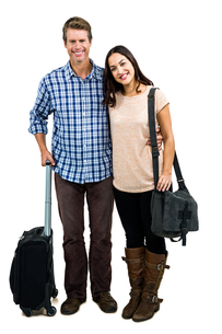 Full length of cheerful couple with luggageの写真素材 [FYI00010208]