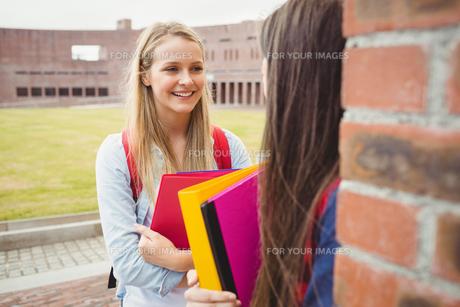 Smiling students talking outdoorの写真素材 [FYI00010340]