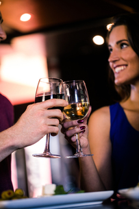 Couple toasting with a glass of wineの写真素材 [FYI00010365]