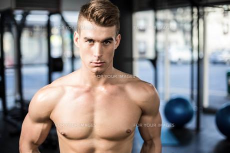 Fit muscular man posing shirtlessの写真素材 [FYI00010487]