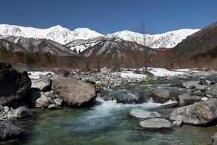 早春の白馬三山と松川の写真素材 [FYI00023537]