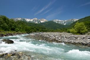 緑濃い白馬連峰と松川の青い流れの写真素材 [FYI00023553]