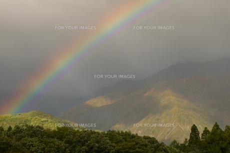 紅葉の唐松岳に架かる虹の素材 [FYI00023567]