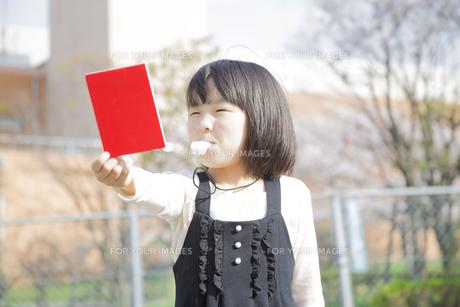 レッドカードを持つ女の子の写真素材 [FYI00023768]